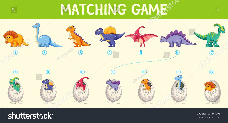 Matching Dinosaur Number Worksheet Illustrationdinosaur