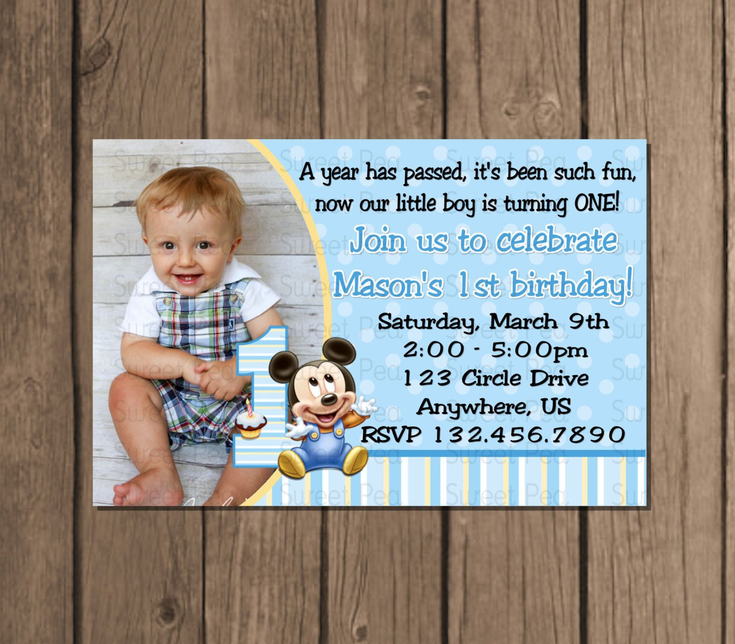 Baby Mickey Mouse boy 1st First Birthday Invitation OR Thank you – First Birthday Invitation for Boy