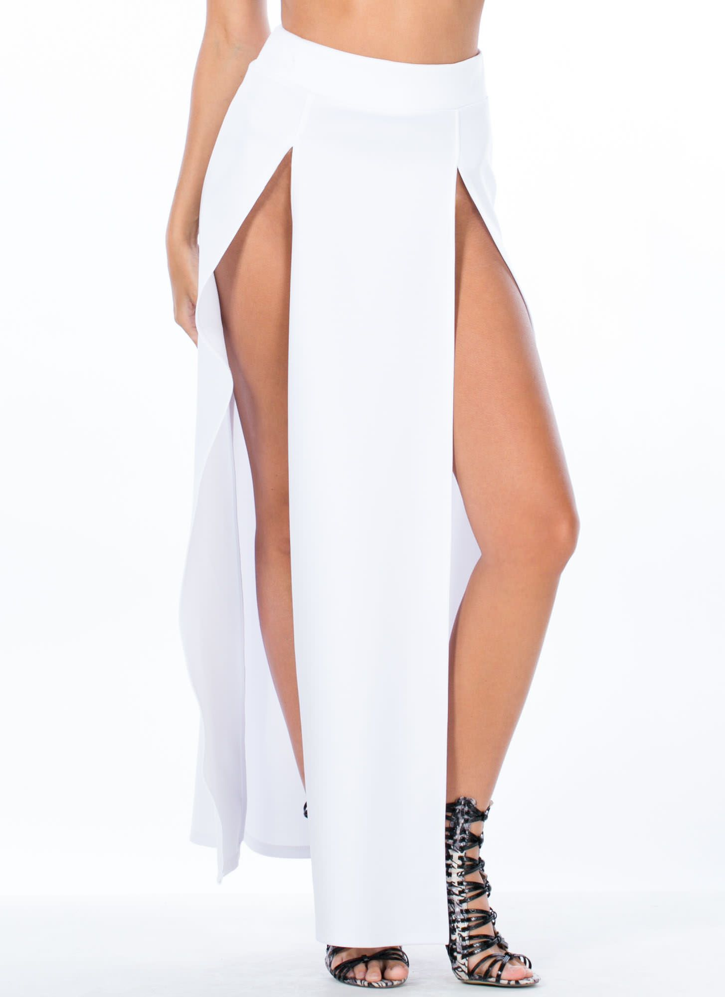 High Regard Double Slit Maxi Skirt WHITE | vacation clothes 2015 ...