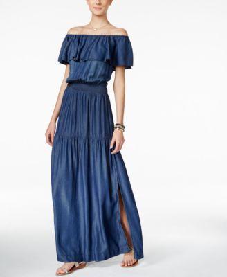 aad8a705fe10 INC International Concepts Off-The-Shoulder Denim Maxi Dress