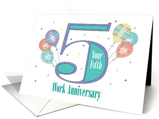 Hand Lettered Employee 5th Year Work Anniversary With Stars Card Work Anniversary Cards Work Anniversary Work Anniversary Gifts