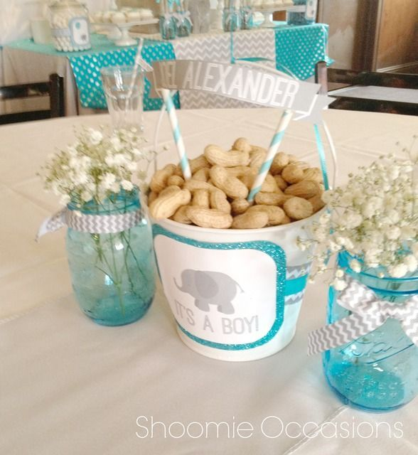 Peanuts In A Bucket At An Elephant Baby Shower See More Party Ideas At Http Ca Elephant Baby Shower Boy Peanut Baby Shower Elephant Baby Shower Decorations