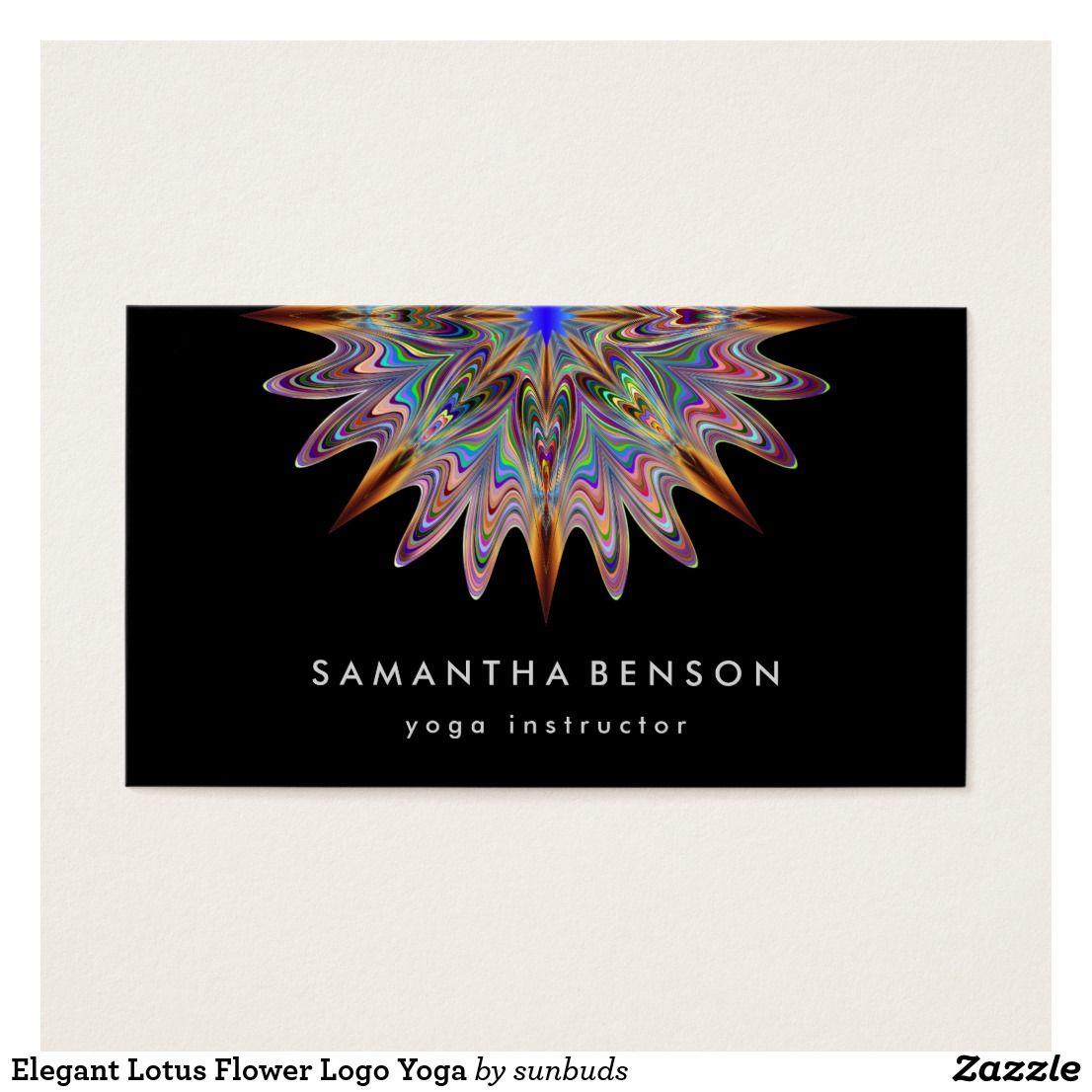 Elegant Lotus Flower Logo Yoga Business Card | Yoga