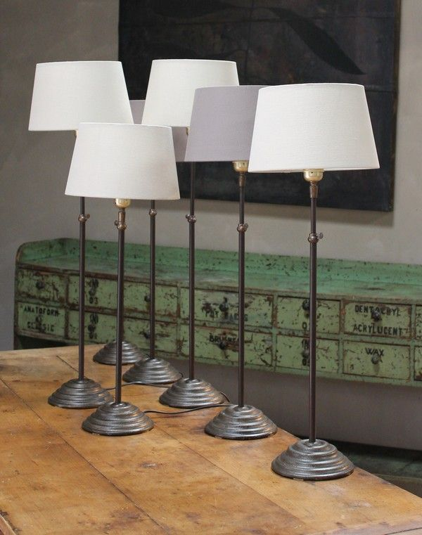 Elegant Extending Bronze Table Lamp With Taupe Linen Shade In Cast Iron  (Steel/metal