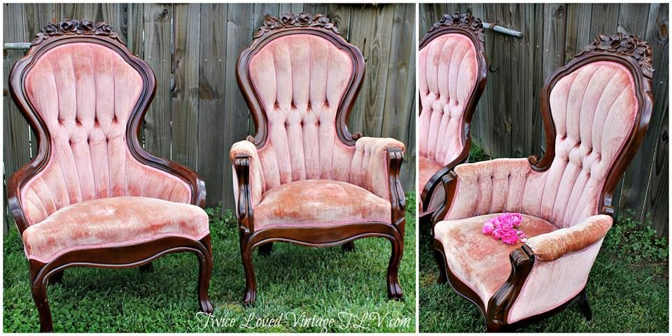 Antique Lady and Gentleman's Walnut Victorian Parlor Chairs Tufted Backs,  Blush Pink Velvet, Rose Craved Crest set of 2 - Antique Lady And Gentleman's Walnut Victorian Parlor Chairs Tufted