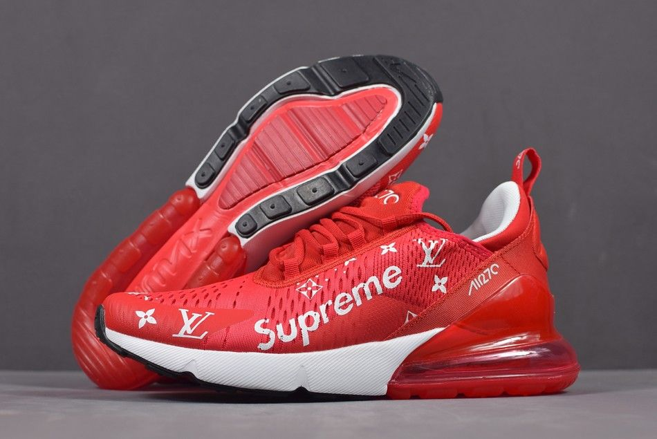 huge selection of 76cf7 41fca Supreme x Nike Air Max 270 Red White Men s and Women s Size Running Shoes