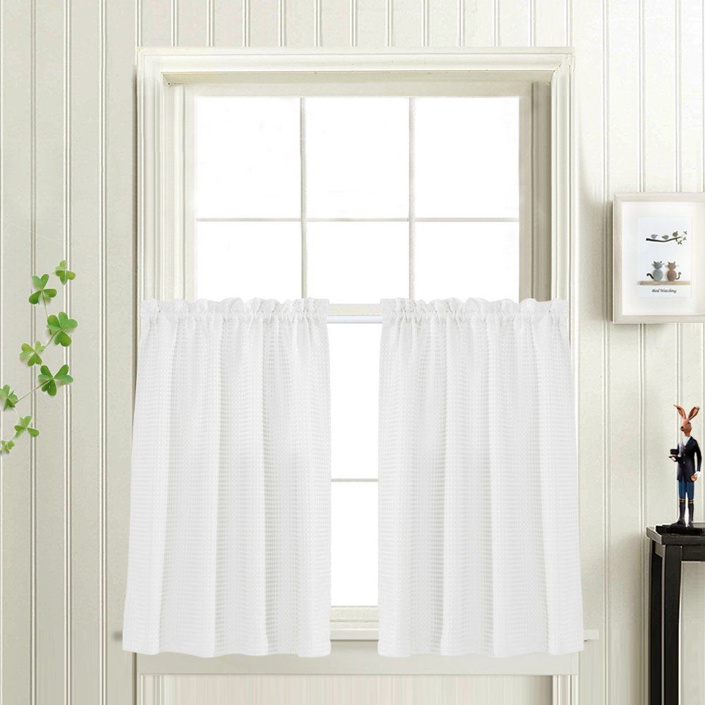 Waffle Woven Textured Short Curtains for Bathroom Water Repellent