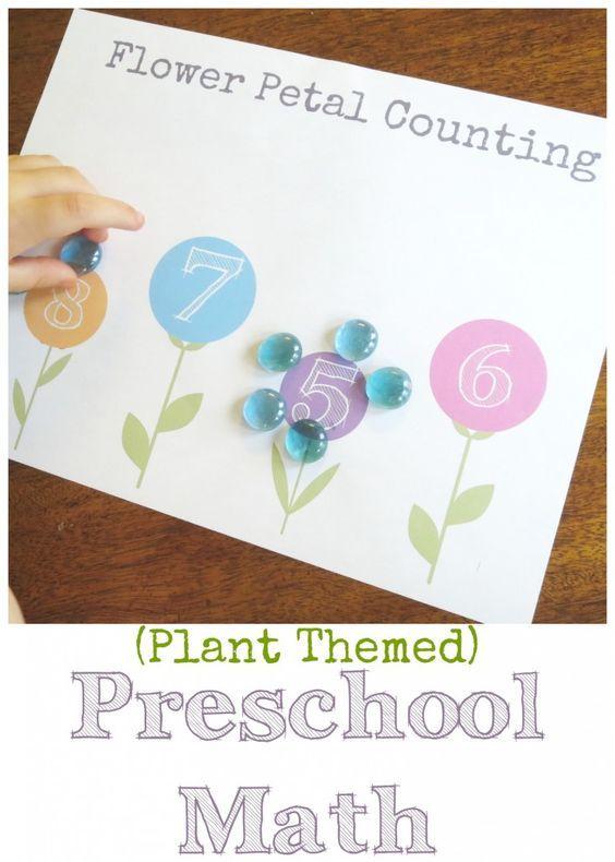 plant theme preschool math flower petal counting free printable garden flower activities. Black Bedroom Furniture Sets. Home Design Ideas