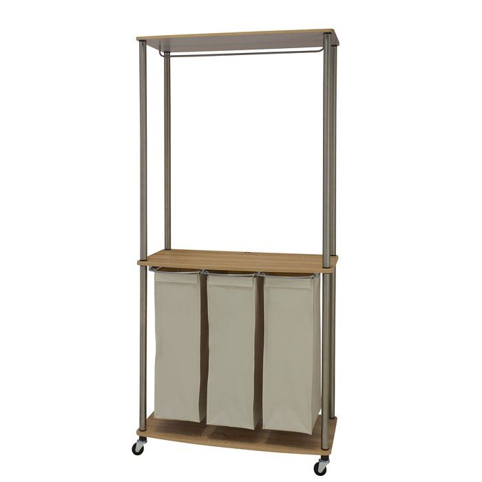 Laundry Center Sorter With Hanging Rod: This Laundry Cart Combines A  Garment Rack, Folding Table, And Clothes Sorter In One! With 3 Removable  Hamper Bags, ...