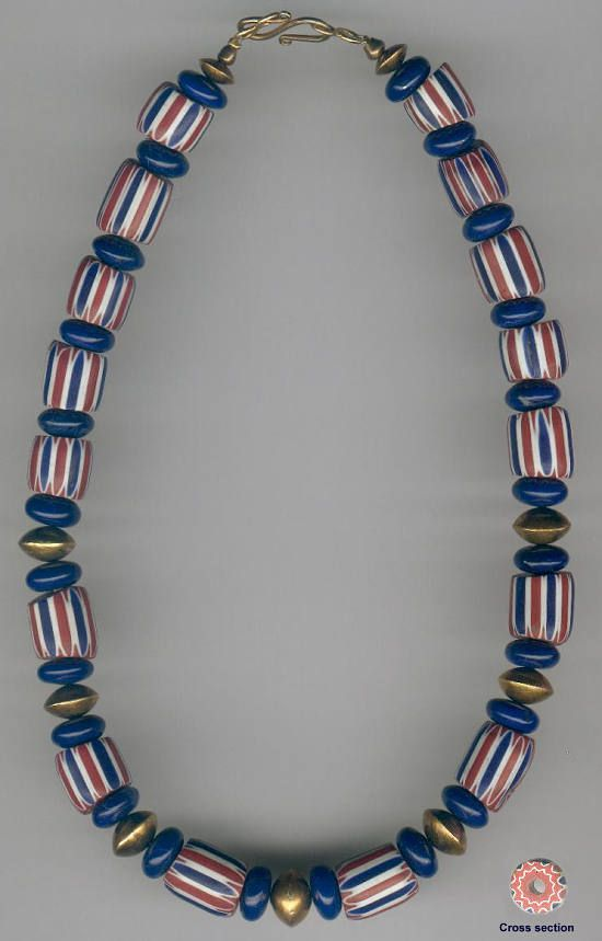 African Trade Bead Designs | Matching 1920's 5-layer Venetian Chevrons, blue enamelled discs. Bicone spacers and fastenings are Gold plated - strung on Silver wire || £100