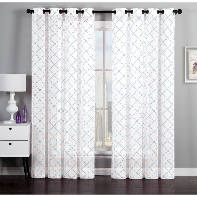 Geometric Flocked Linen By Artistic Linen 84 Inch Curtain Window Panel Pair  | Overstock.