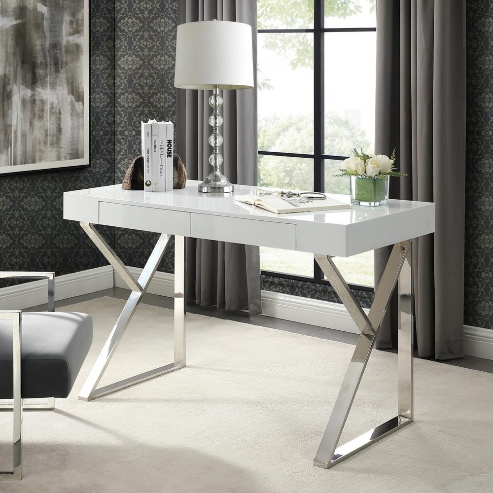 Inspired Home Biaochi White/Chrome Desk with 2Drawers