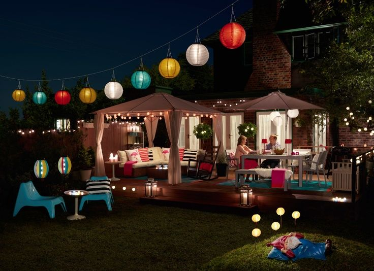 Create Evening Atmosphere By Hanging A Washing Line Diagonally Across Your  Kitchen Garden, Hook On The IKEA Solvinden Solar Powered Pendent Lights And  Enjoy ...