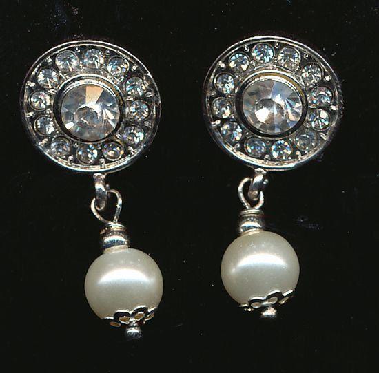 Pearl Rhinestone Earrings Long Drop Grecian Style by JewelryTarget, £20.00