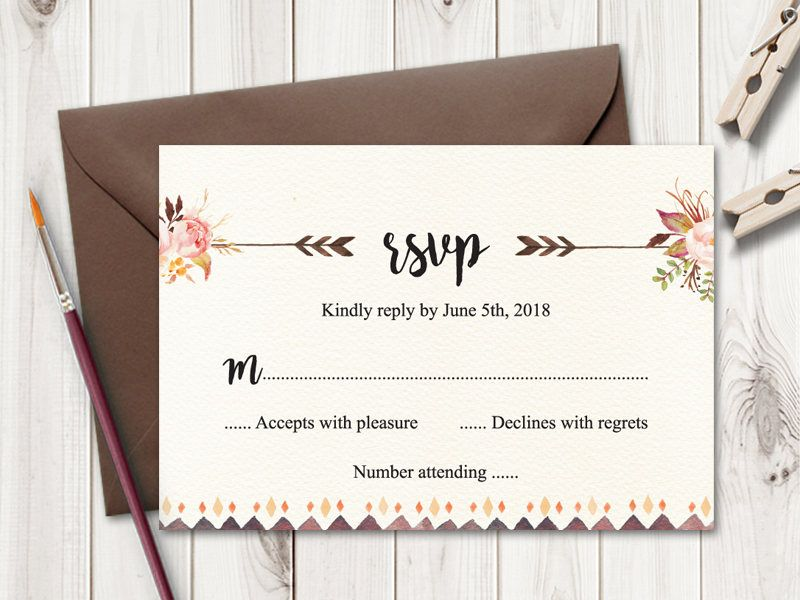 Boho Wedding RSVP Card \