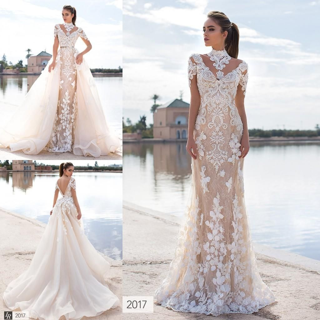 33d873c90053 Latest 2017 Stunning Overskirts Wedding Dresses 3d Floral Appliques Lace  High Neck Long Sleeve Backless Bridal