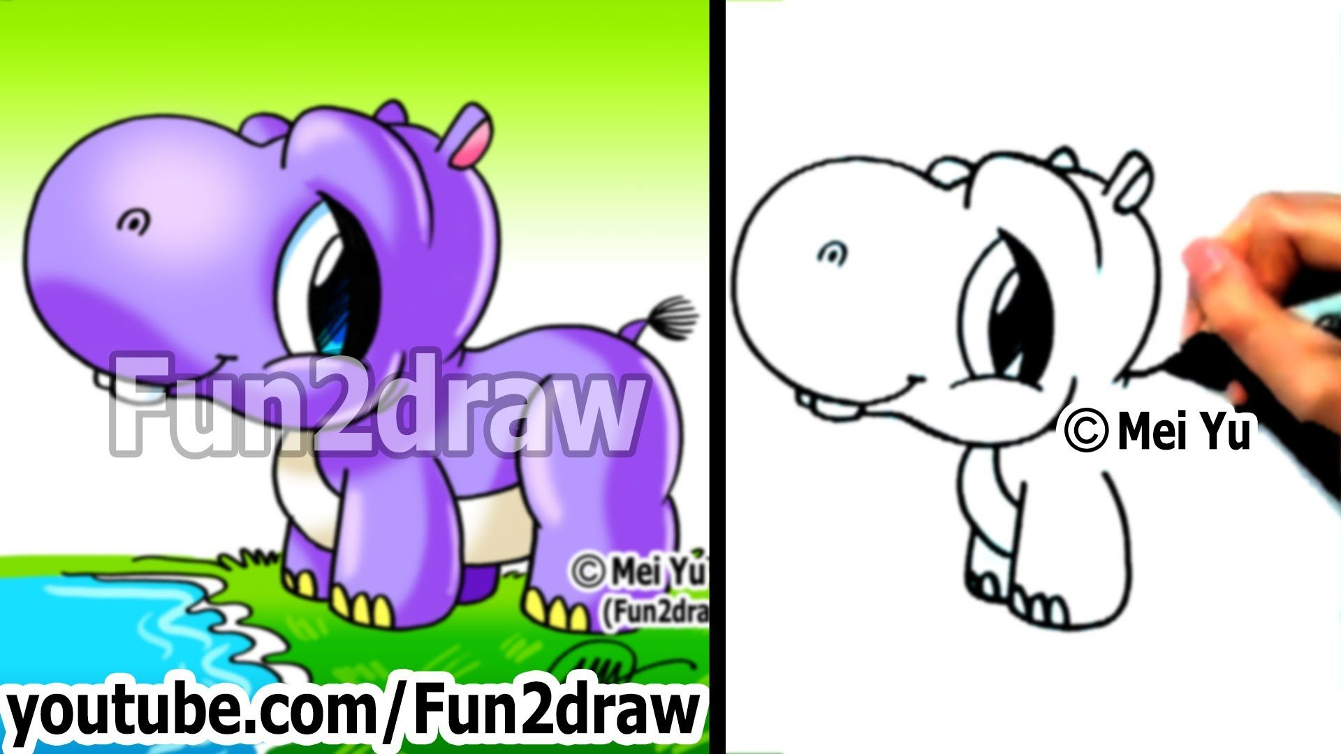 How To Draw A Cute Cartoon Baby Hippo!
