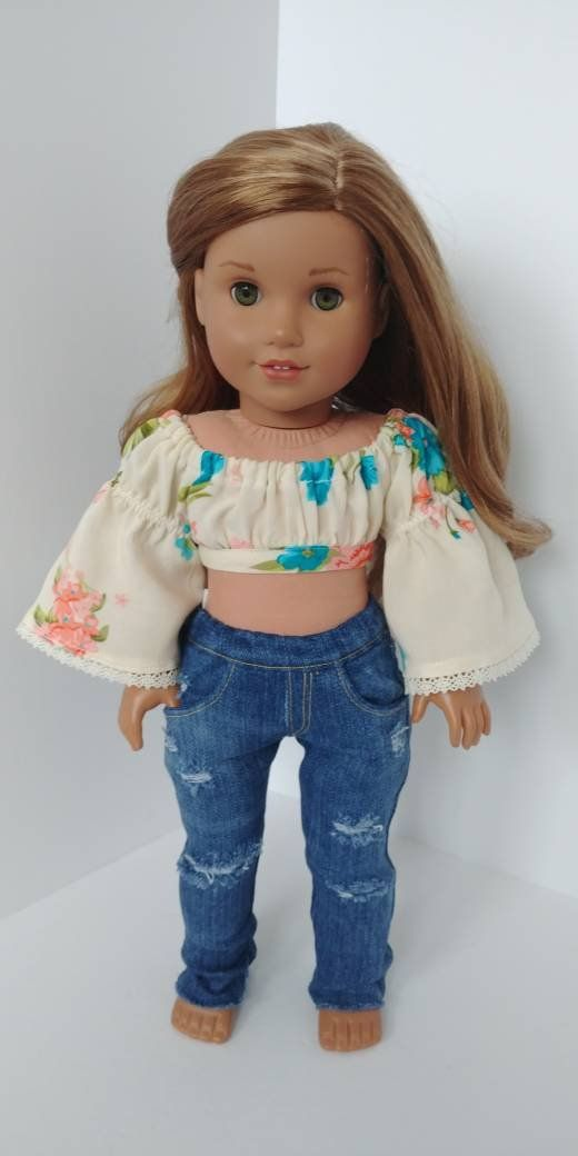 Fits like American girl doll clothing.18 inch doll clothing. 18 inch doll clothes. Floral boho shirt #americangirldollcrafts