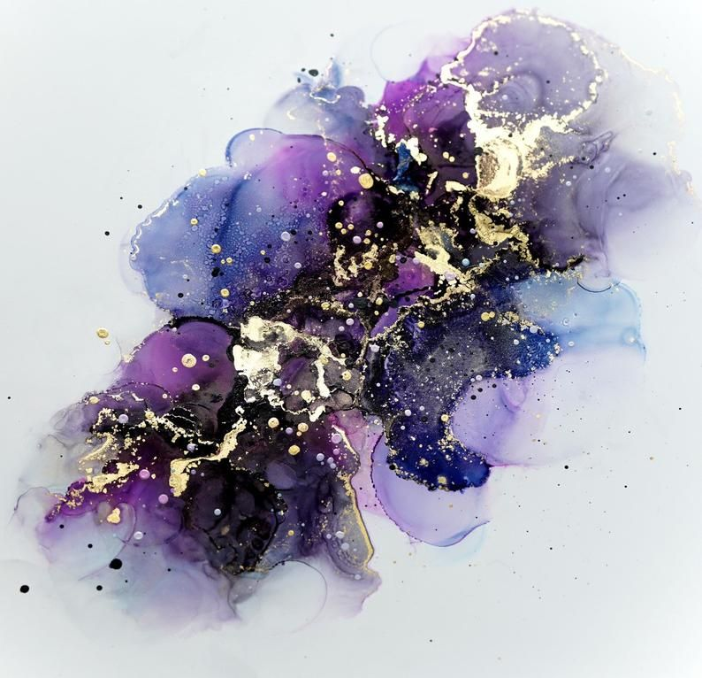 Fluidart Inkart Abstract Blue Purple Gold Copic Alcohol Ink Etsy