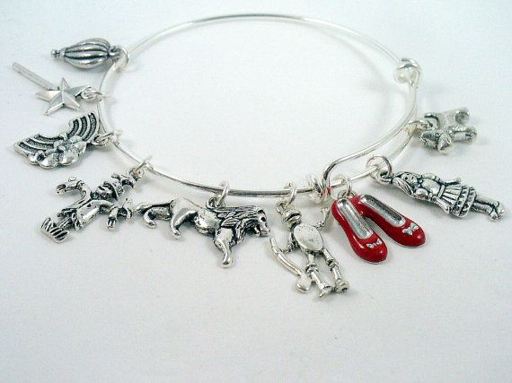 Wizard of Oz Theme, Silver Bangle Bracelet,  Alex And Ani Inspired Style, Gift For Her