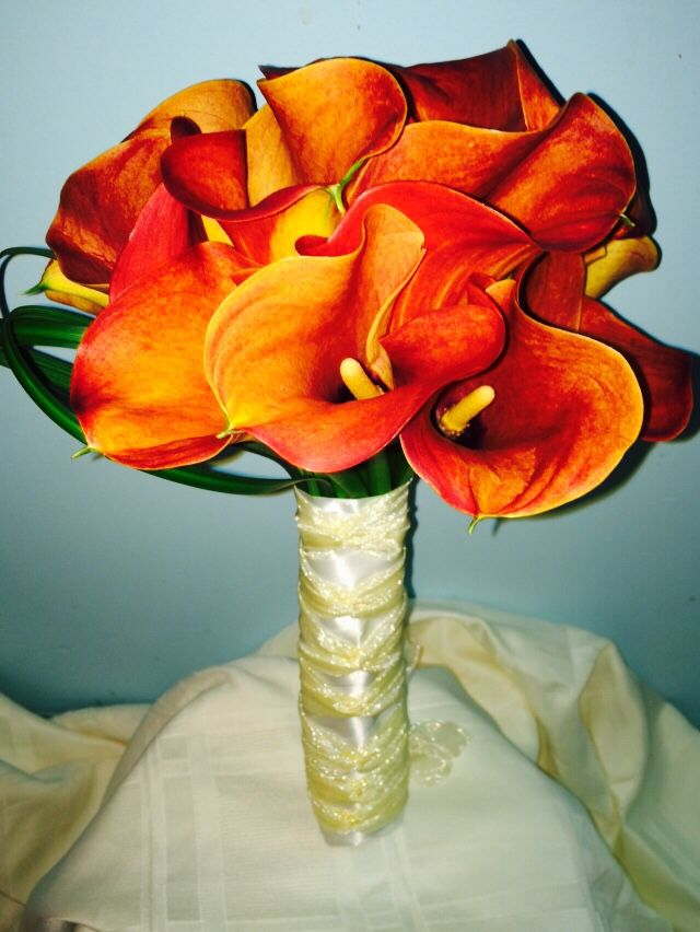 Mango calla bouquet Flowers by Carole NY