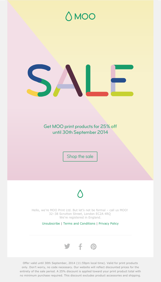 Moo Mailing Sale Email Design Social Media Email Marketing