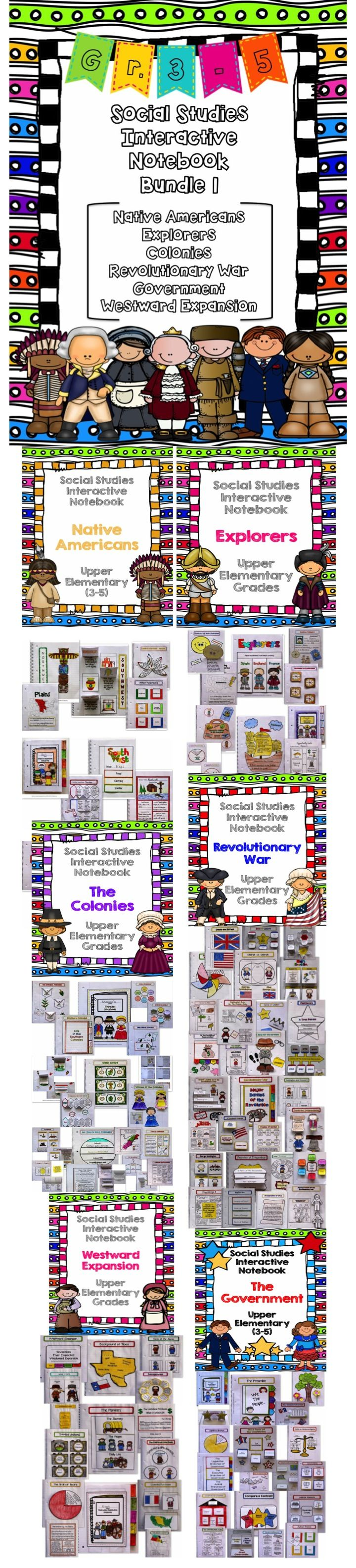This Social Studies Interactive Notebook Bundle 1 covers Native Americans, Explorers, Colonies, The Revolutionary War, Government, and Western Expansion. This huge interactive bundle makes it easier to plan your Social Studies lessons. All sections of the interactive notebook bundle give you choices of using some or all of the pages. $