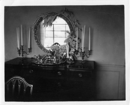 Photograph Snapshot Vintage Black And White Fancy Dresser Mirror 1950 S