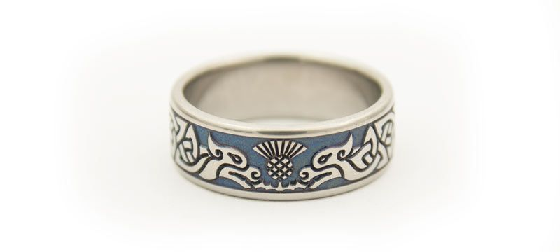Titanium Celtic Hounds Scottish Thistle Wedding Ring Scottish