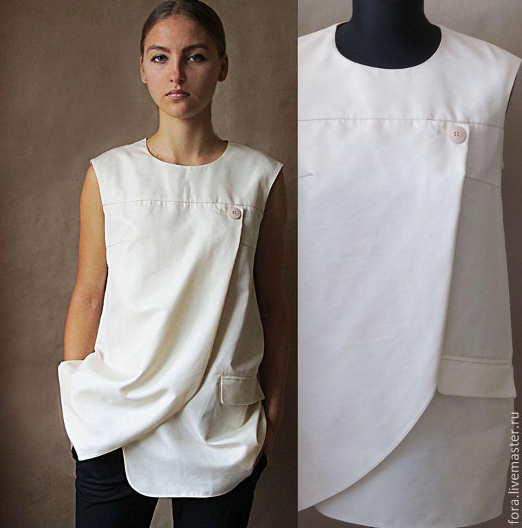 Купить Блуза, итальянский хлопок - хлопок, жилет длинный, блуза, блузка,  блузки, красивая блузка 989dea40a13