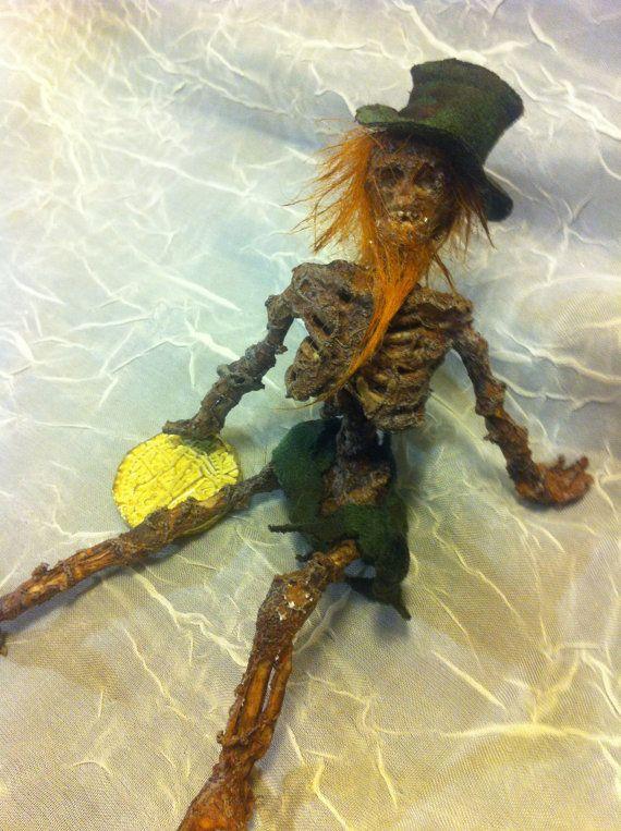ooak Irish dead LEPRECHAUN Fantasy fairy miniature doll