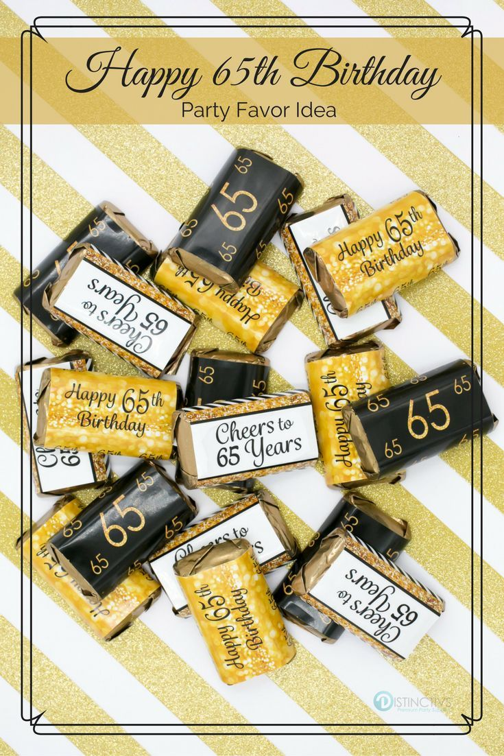 Black and Gold 65th Birthday Party Mini Candy Bar Stickers ...