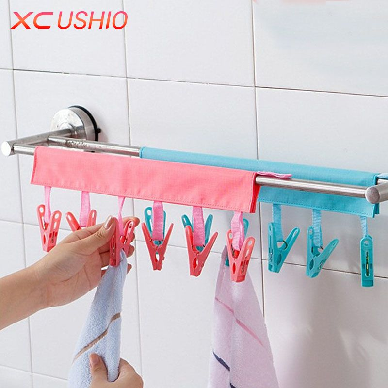 Multifunctional Portable Cloth Hanger Drying Rack Foldable Bathroom Rack Travel Clothespin 6 Clip Hanger Towel S Fabric Hanger Clothes Hanger Rack Clothes Pegs