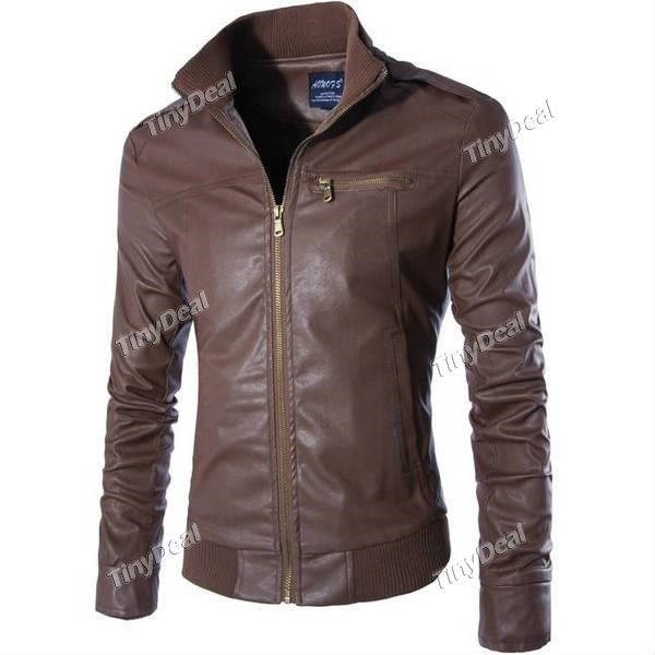 Winter Casual Fashion Stand Collar Zipper Motorcycle Rib Stitching Leather Jacket Coat for Boy Men DCD-371514