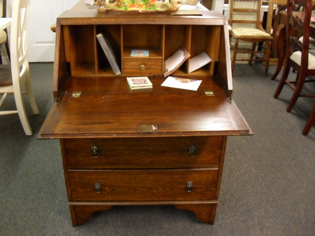 Antique Oak Slant front Secretary desk at Hodges Antiques - Antique Oak Slant Front Secretary Desk At Hodges Antiques Desks