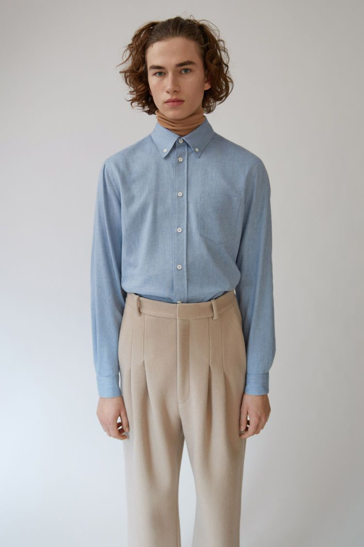 Flannel formal dress  Acne Studios Isherwood Melton light ceramic blue is a relaxed fit