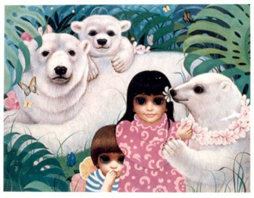 'Innocense' by Margaret Keane. New movie coming out about this sister and what she went through to receive credit for her own painting!  I think it's called big eyes!