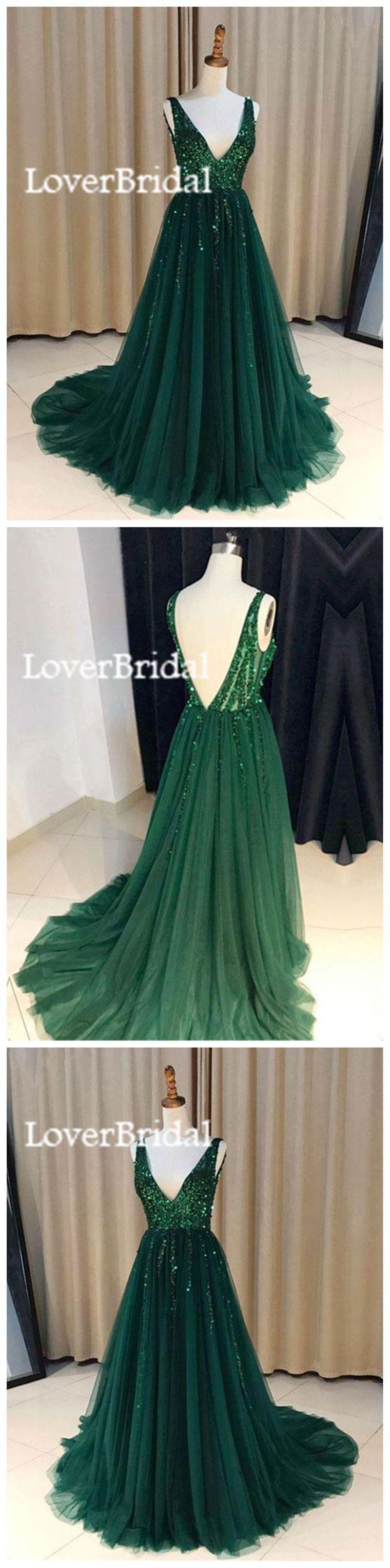 V neck emerald green tulle a line long custom evening prom dresses