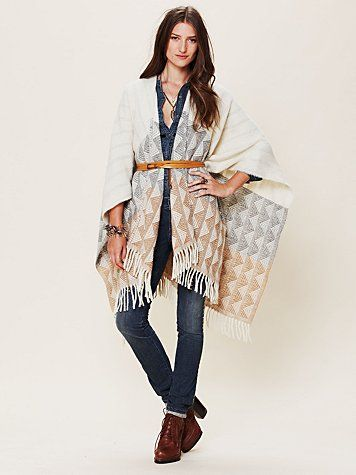 "Tucson Poncho length with fringe 35"", sleeve length from side of neckline 24"""