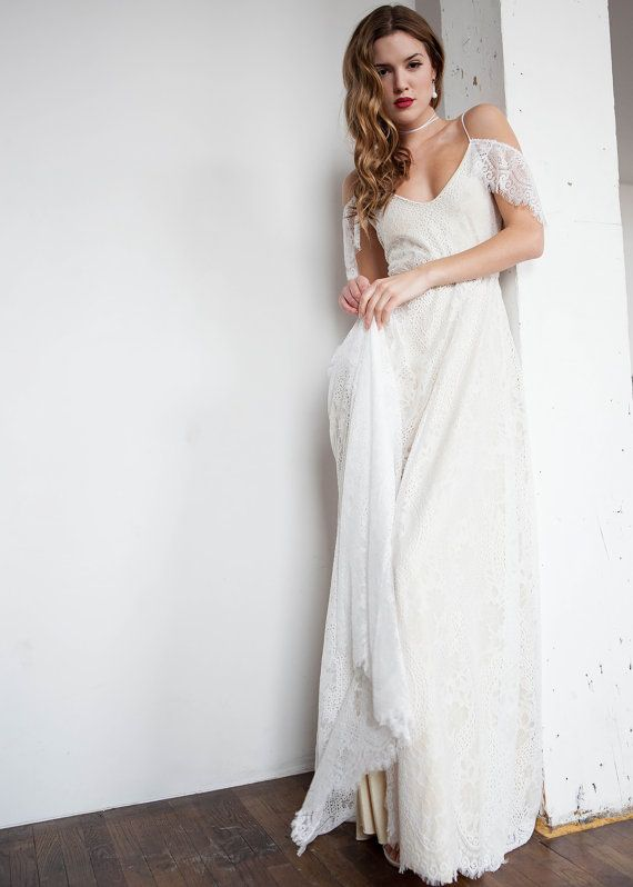 Off Shoulder Wedding Dress Boho Wedding Dress Hippie Wedding ...