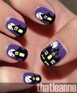 Thatleanne Spooky Haunted House Nail Art For Halloween Halloween Nail Designs Halloween Nail Art Halloween Nails