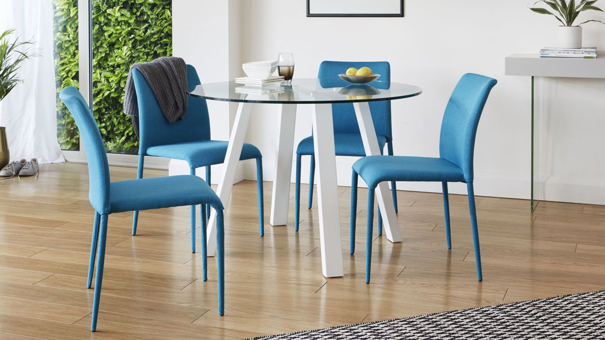 Arc and Riva 4 Seater Glass and White Gloss Dining Set