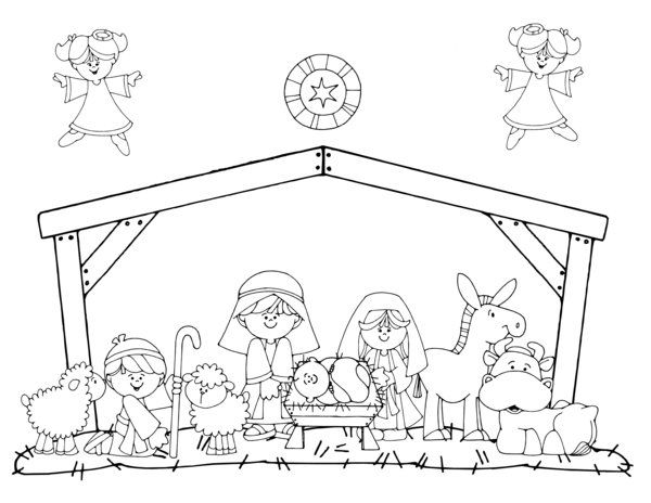 Manger Scene In Touch Coloring Page With Images Jesus