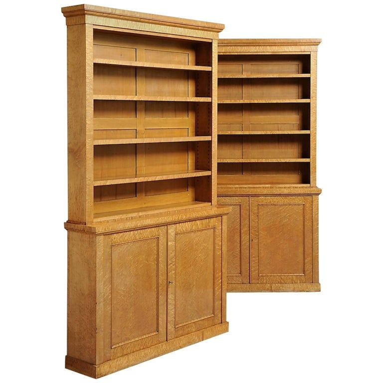Pair Of Maple Bookcases In 2020 Bookcase Tall Cabinet Storage Open Bookcase