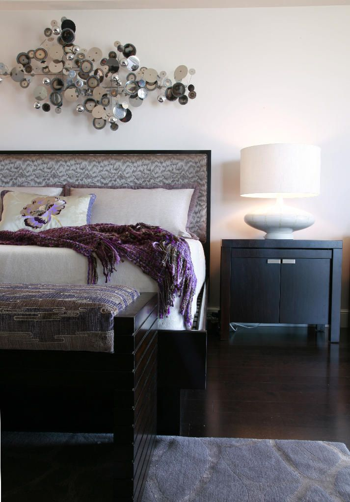 Modern Bedroom In Eggplant Taupe And Silver Tones