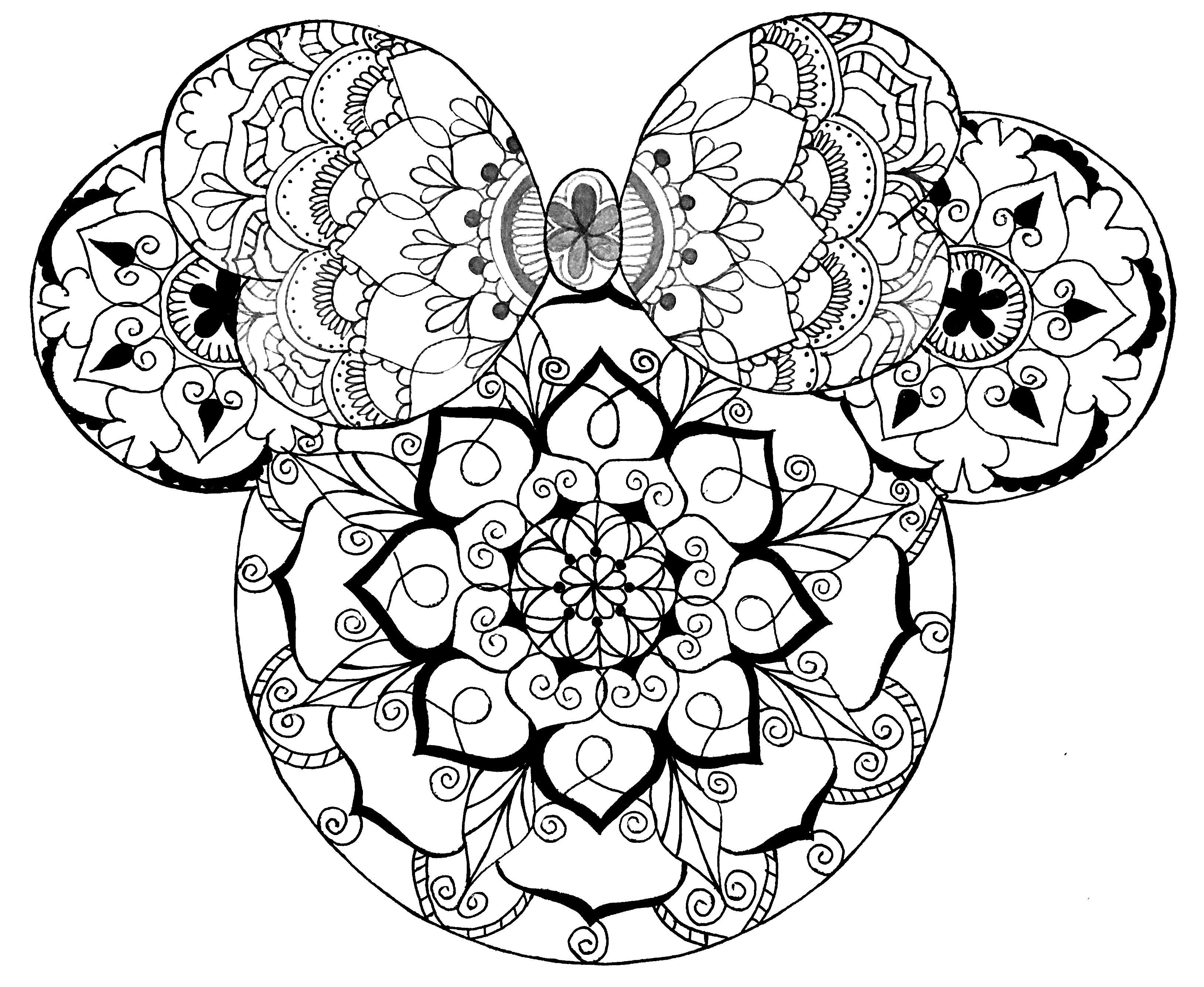Disney Mandala  Minnie Mouse  Mandala art  Mandala coloring