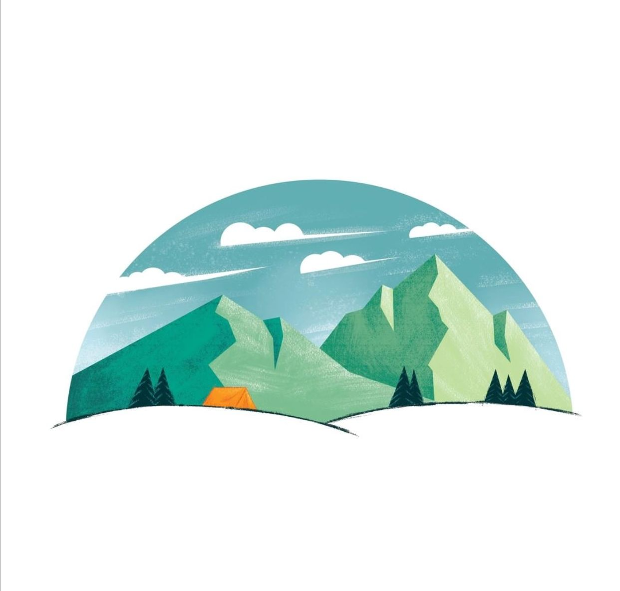 Camping Mountain Illustration Print Tent Mountain Wanderlust