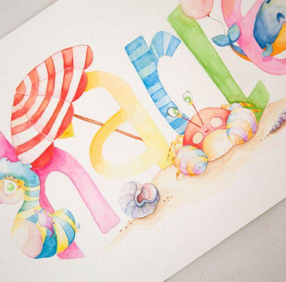 CUSTOM NAME Painting Personalized Children's por BrilliantCritter