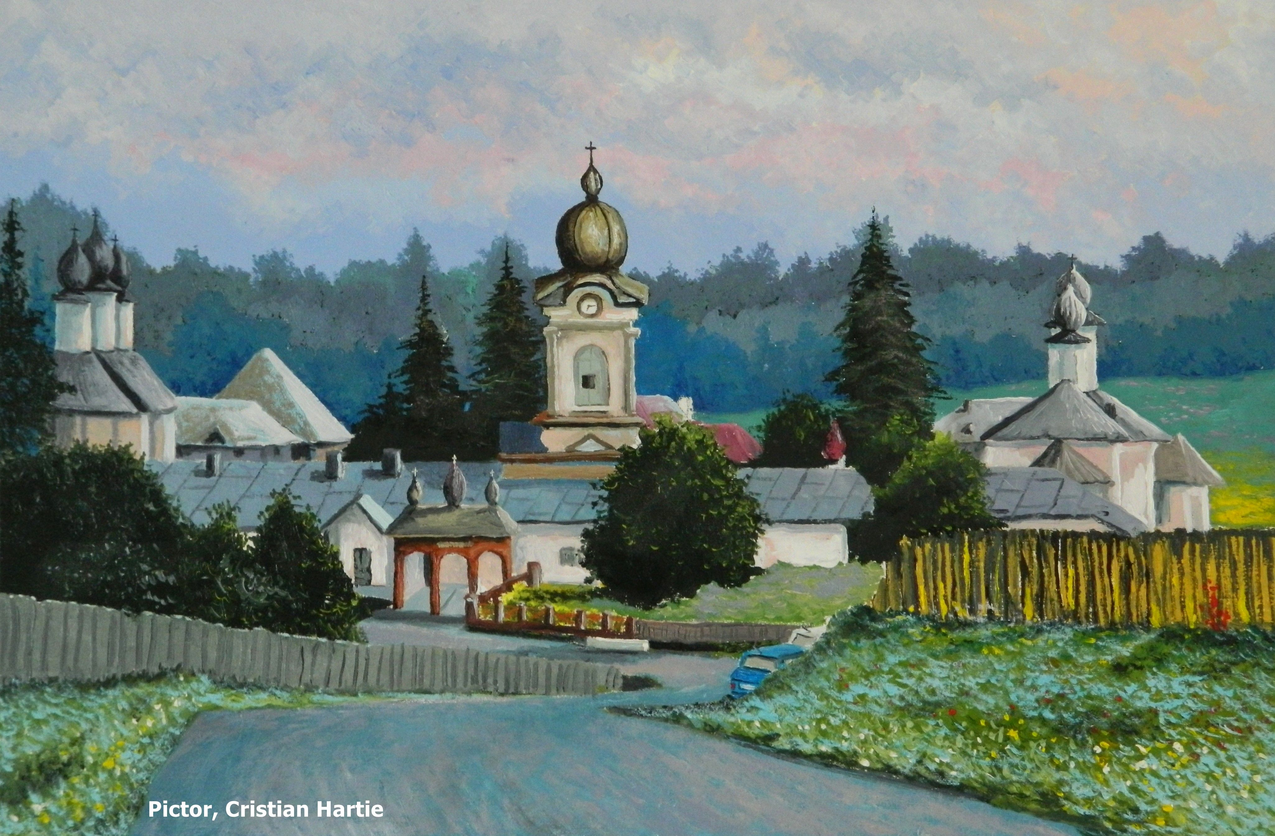 Manastirea Vorona, Botosani 60 x 40 cm Pictor, Cristian Hartie | Botosani, Painting, Paintings for sale