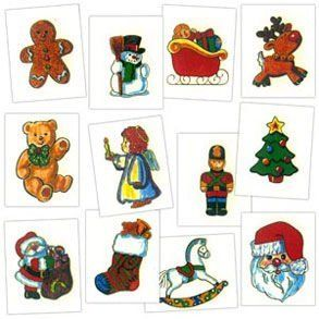 "Sale Holiday Tattoos Sale by Century Novelty. $3.95. Spread Christmas Cheer with Stocking Stuffers! The Holiday Tattoos are a fun favor for kids of all ages. A great way for spreading Christmas cheer at any holiday party. 72 tattoos per package. 2"" long and wide. Assorted holiday styles. Styles include gingerbread man, snowman, sleigh, reindeer, bear, angel, nutcracker, Christmas tree, stocking, rocking horse and Santa. Easy to apply and remove. Safety tested for child..."